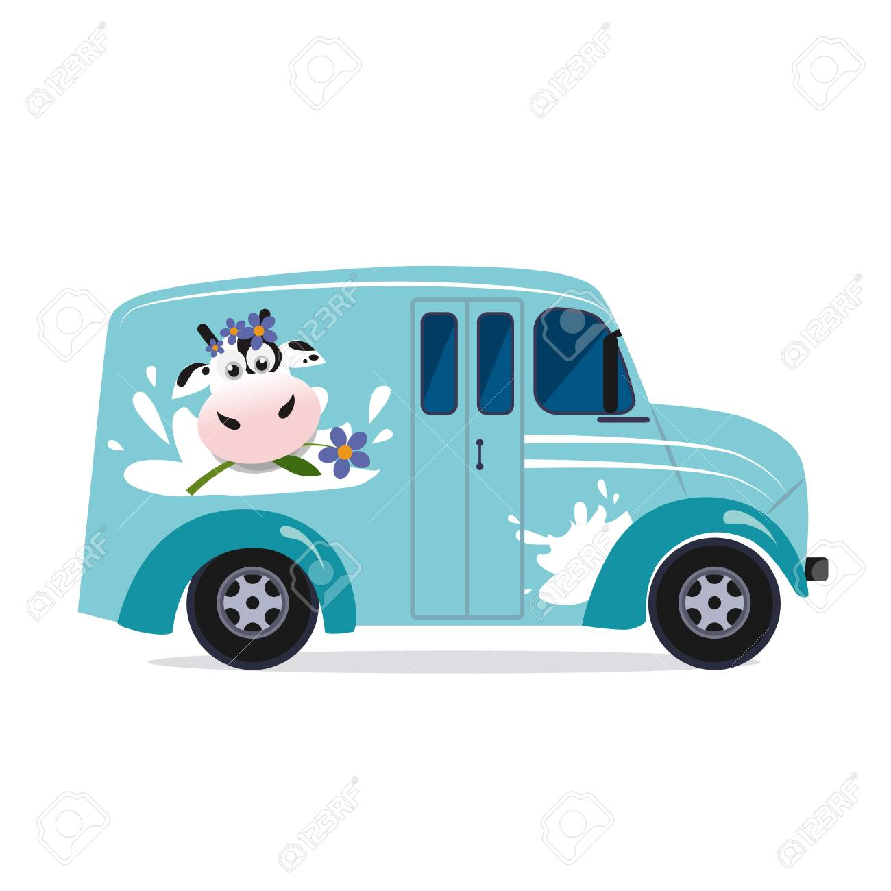 Vector modern flat design illustration on dairy milk delivery service local delivery truck - 128163214