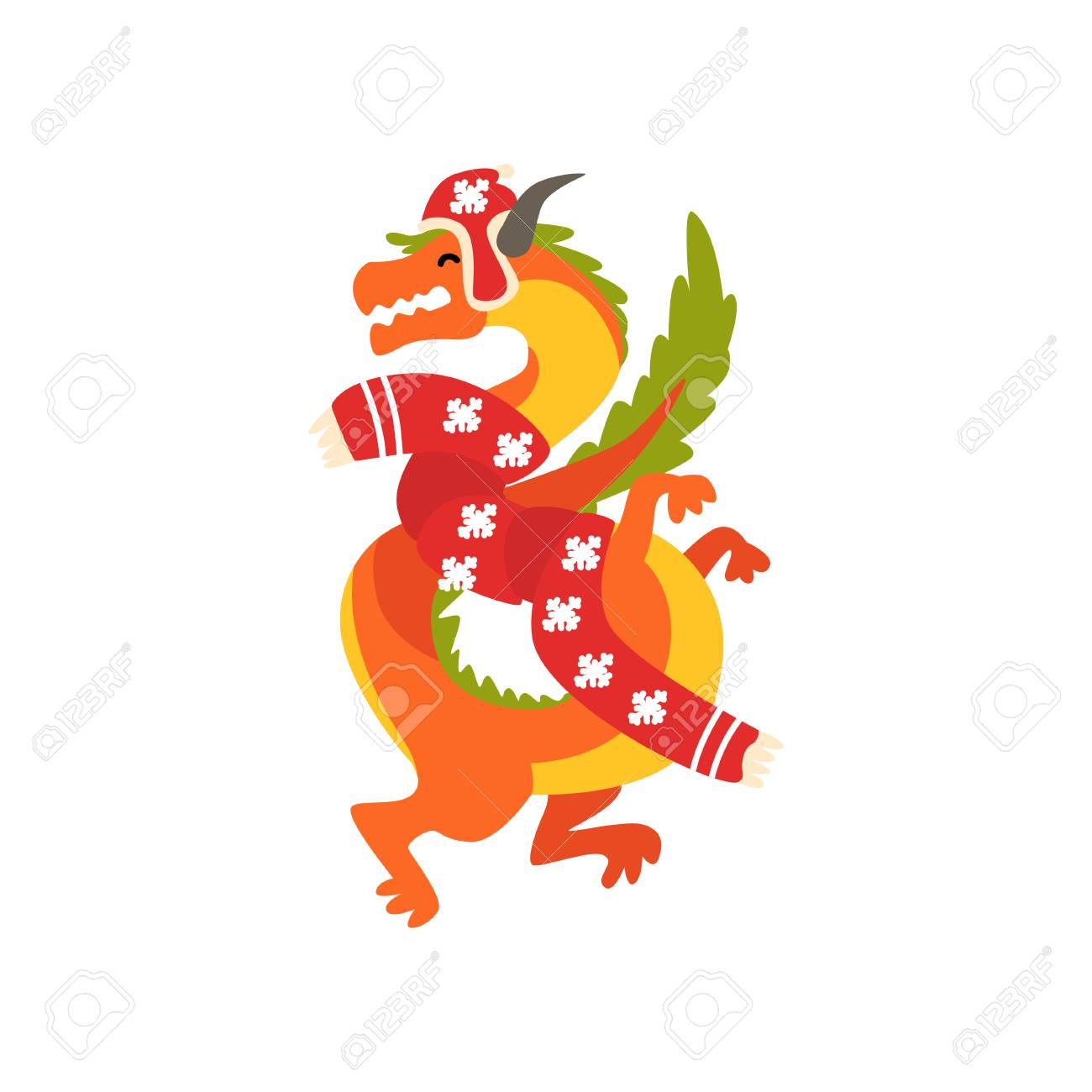 0aba5431f Dragon symbol of New Year, cute animal of Chinese horoscope in Santa Claus  costume vector