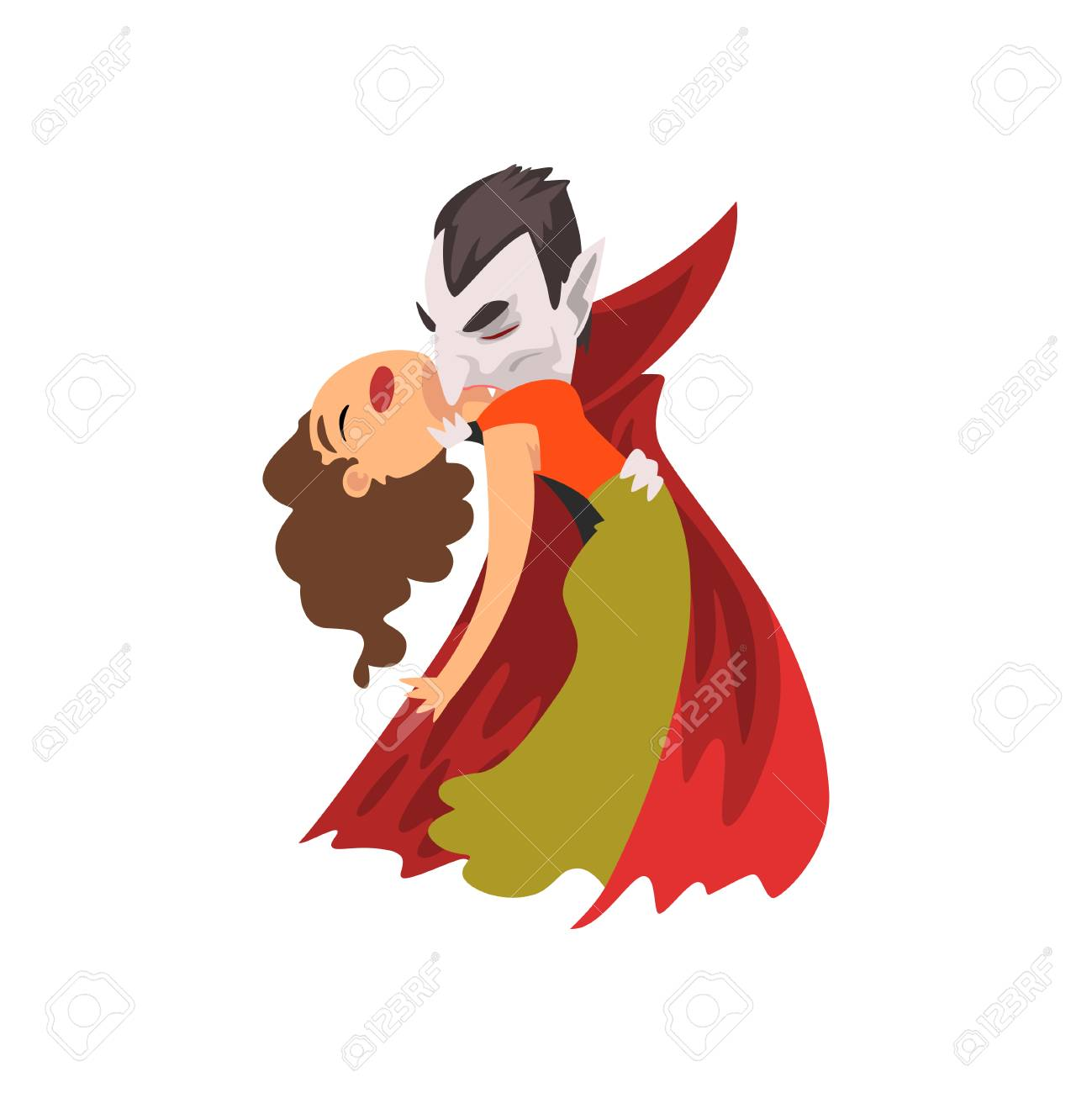 Count Dracula biting a beautiful woman, vampire cartoon character vector Illustration isolated on a white background. - 111413716