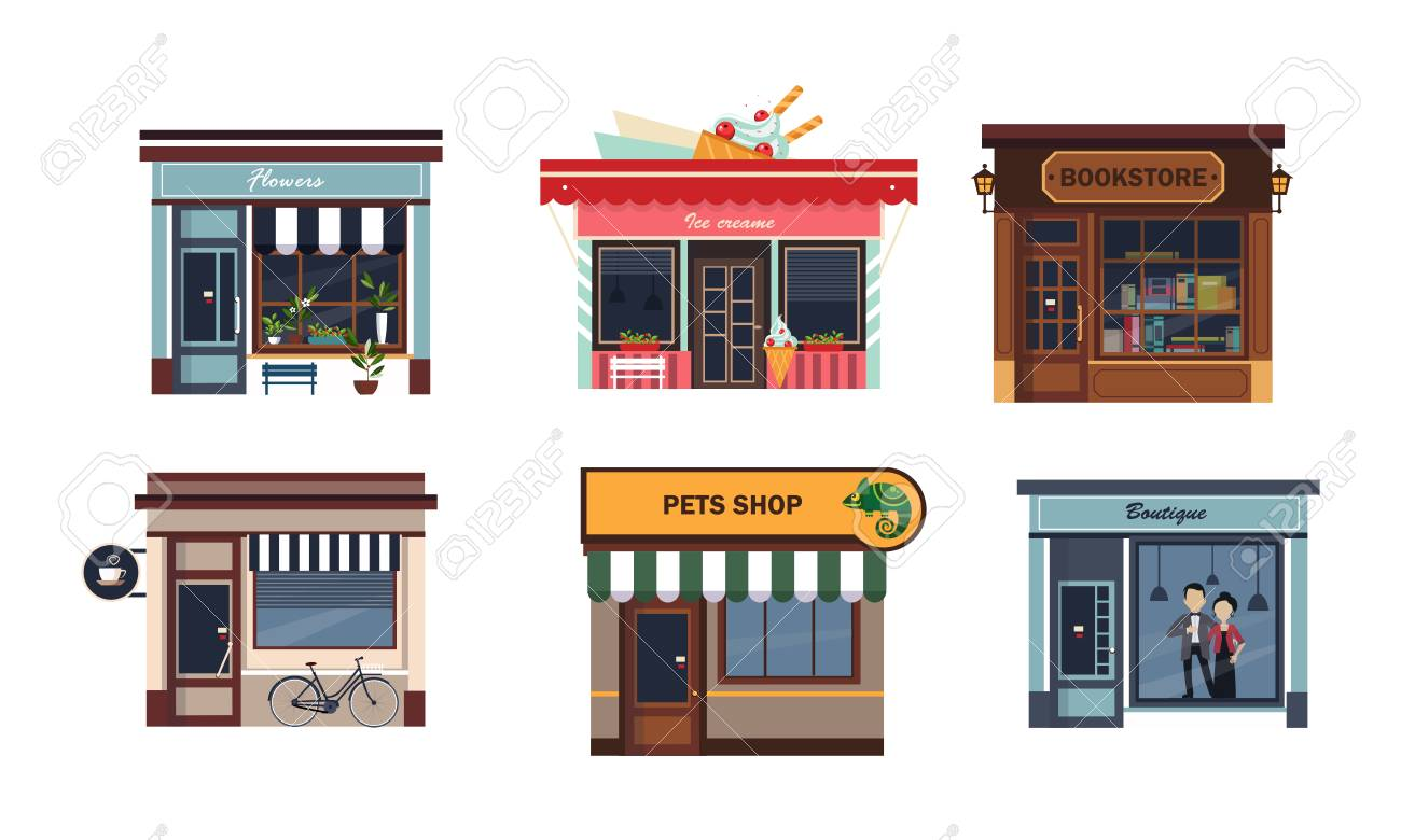 Facades of various shops set, flower, ice cream, bookstore, cafe, pets shop, boutique vector Illustration on a white background - 112270813