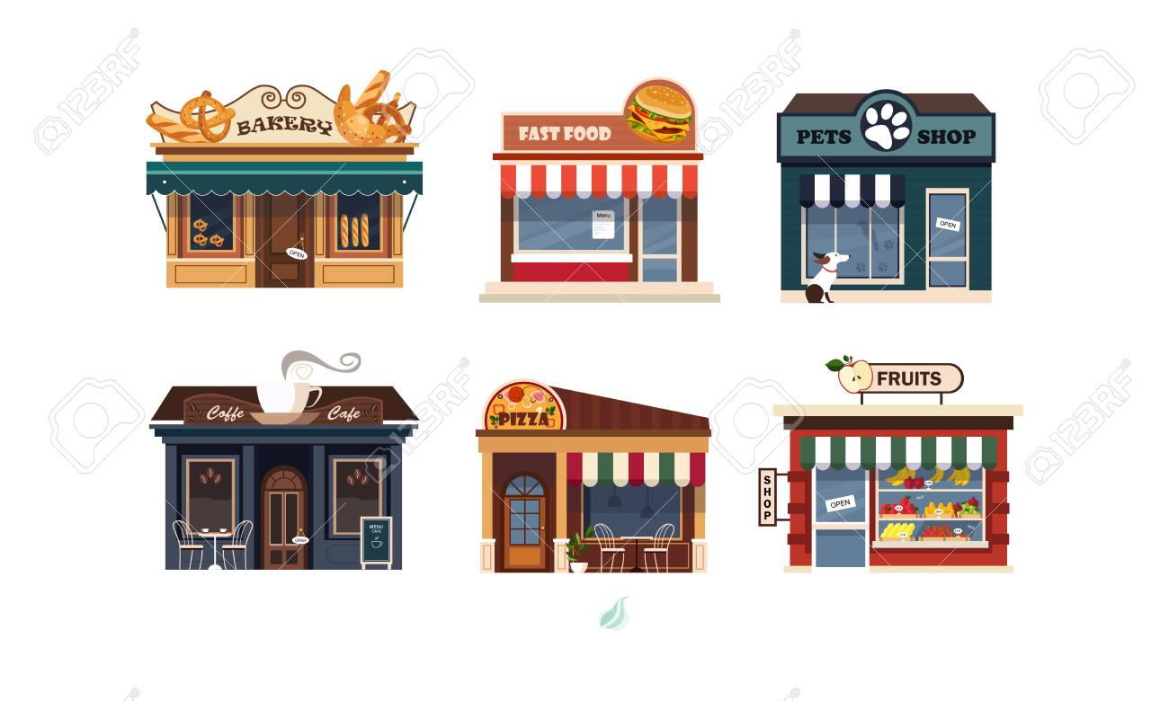 Facades of various shops set, bakery, fast food, pets shop, pizza, fruits vector Illustration on a white background - 112270818