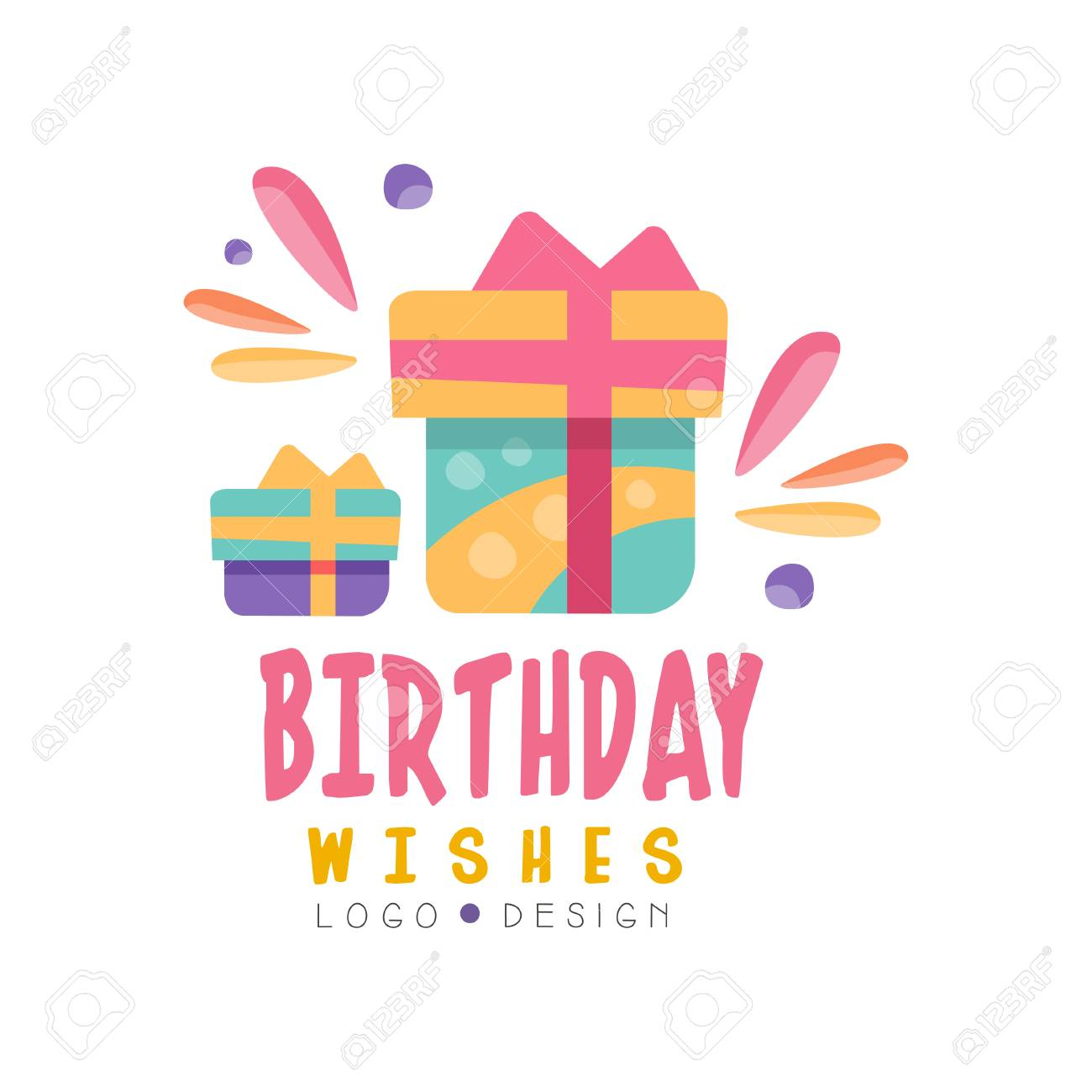 Birthday Wishes Design Colorful Creative Template For Banner Poster Greeting Card Vector Illustration