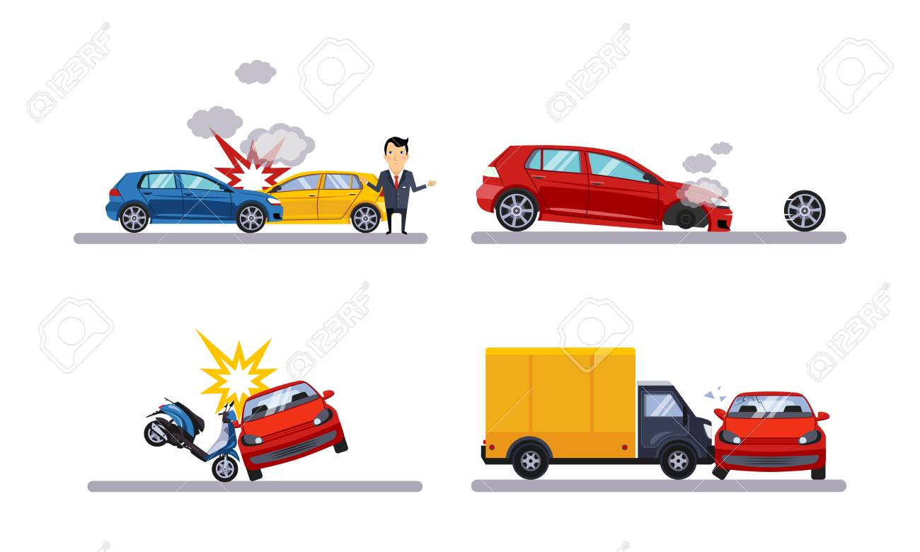 Car accidents and crash set flat vector Illustration isolated on a white background. - 112828002