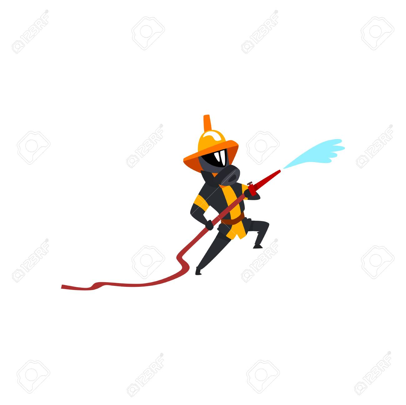 Fireman spraying water using hose, firefighter character in uniform and mask at work vector Illustration on a white background - 114779457