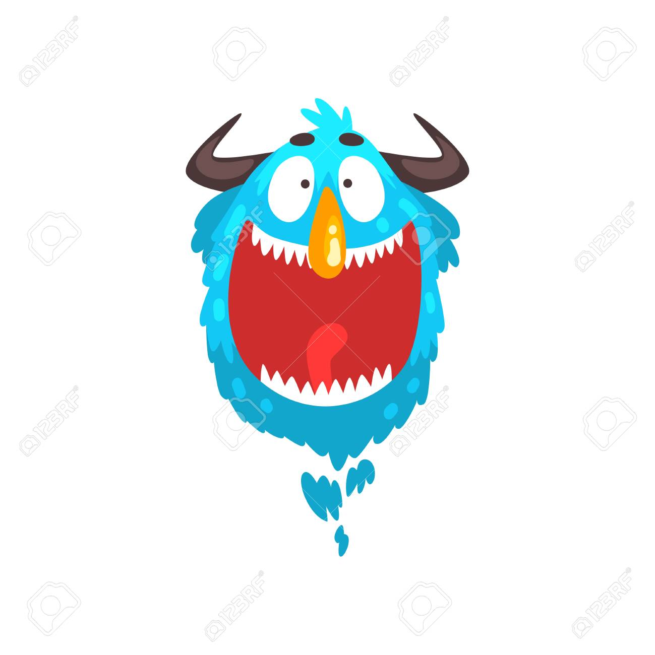 Funny horned monster, colorful fabulous cartoon creature character vector Illustration isolated on a white background. - 126379322