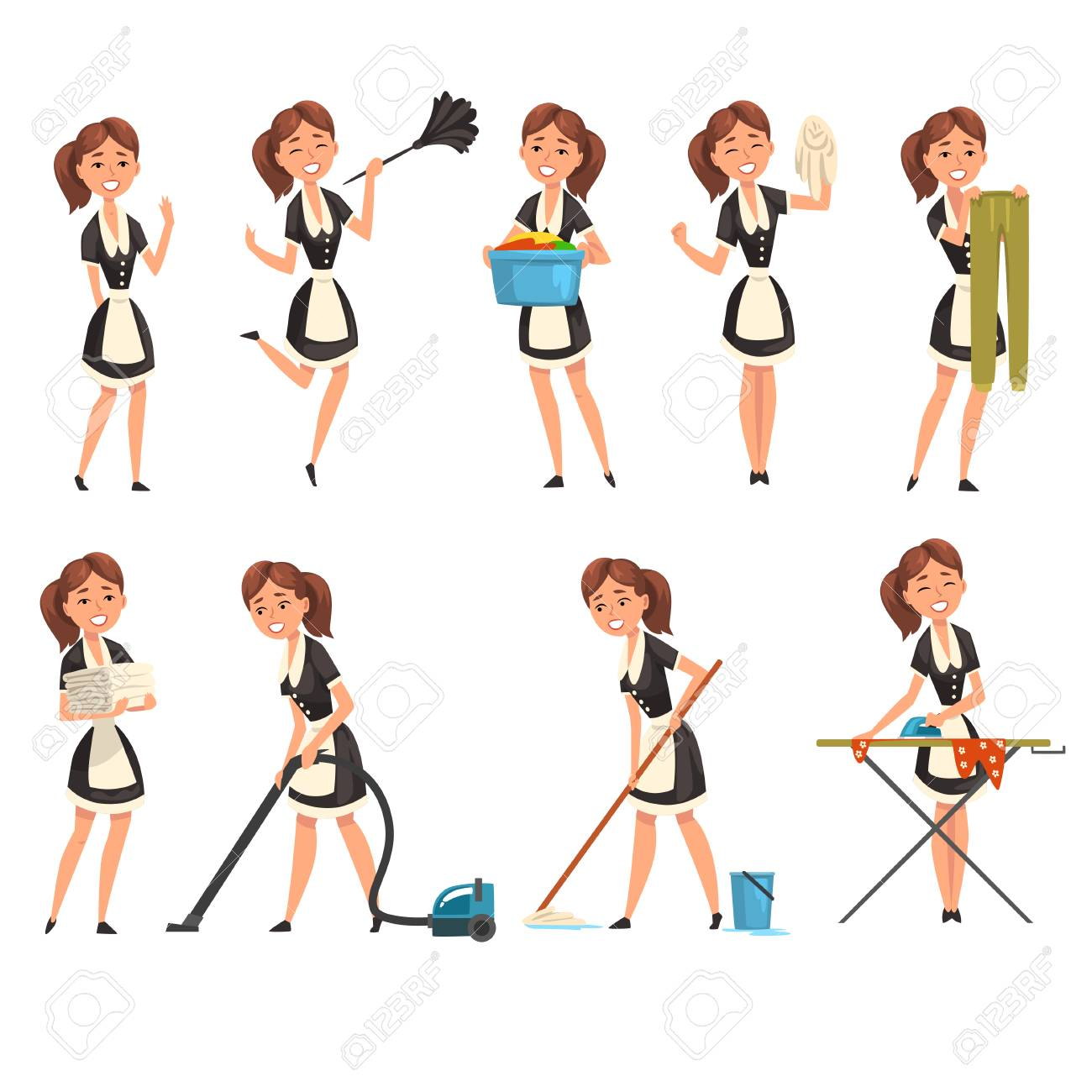 Smilling maid posing in different situations set, housemaid character wearing classic uniform, cleaning service vector Illustration isolated on a white background. - 115276732