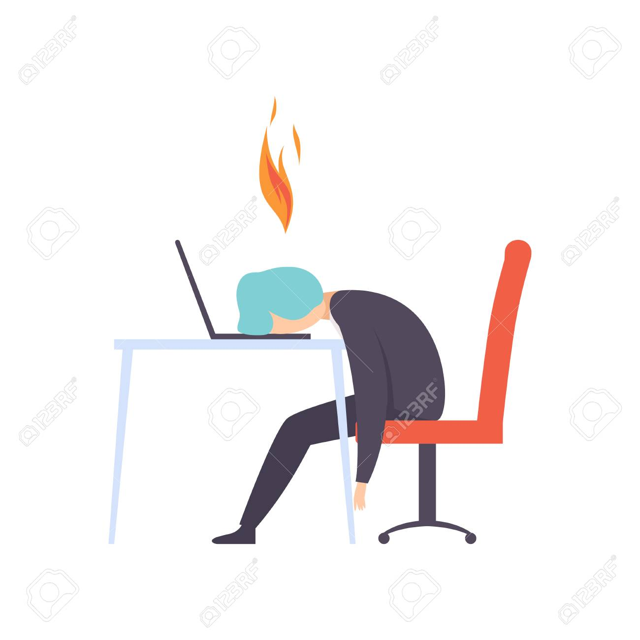 Overworked exhausted man sitting at his working place with computer in office, businessman with burning brain, emotional burnout concept, stress, headache, depression, psychological problems vector Illustration isolated on a white background. - 126171634