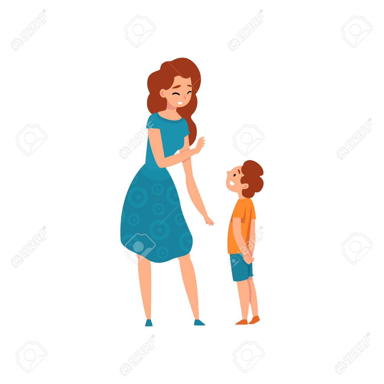 Mother talking with her son, mom having a good time with her kid, motherhood, parenting concept vector Illustration isolated on a white background. - 126132332
