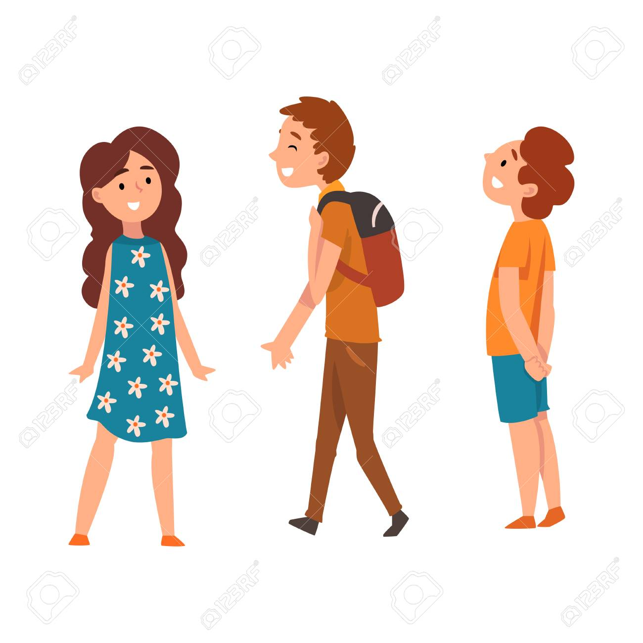 Happy school children, two boys and girl, vector Illustration isolated on a white background. - 126132360
