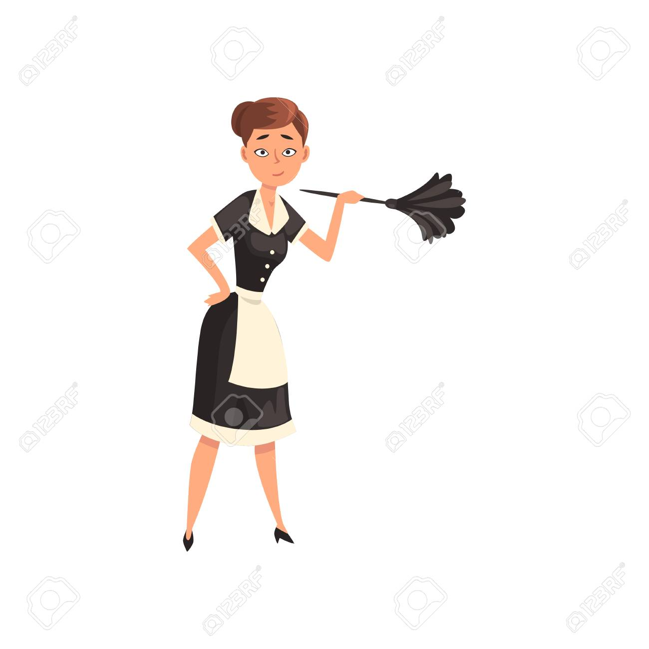 Maid holding a feather duster, housemaid character wearing classic uniform with black dress and white apron, cleaning service vector Illustration isolated on a white background. - 126011682