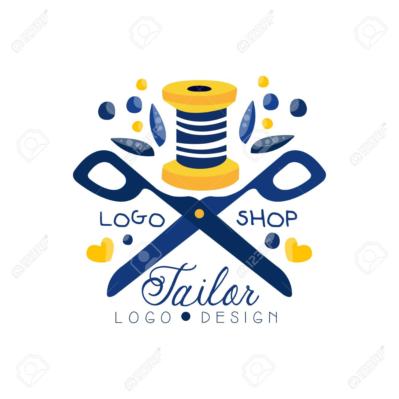 Tailor Shop Logo Design Sewing Company Fashion Designer Emblem Royalty Free Cliparts Vectors And Stock Illustration Image 115657807