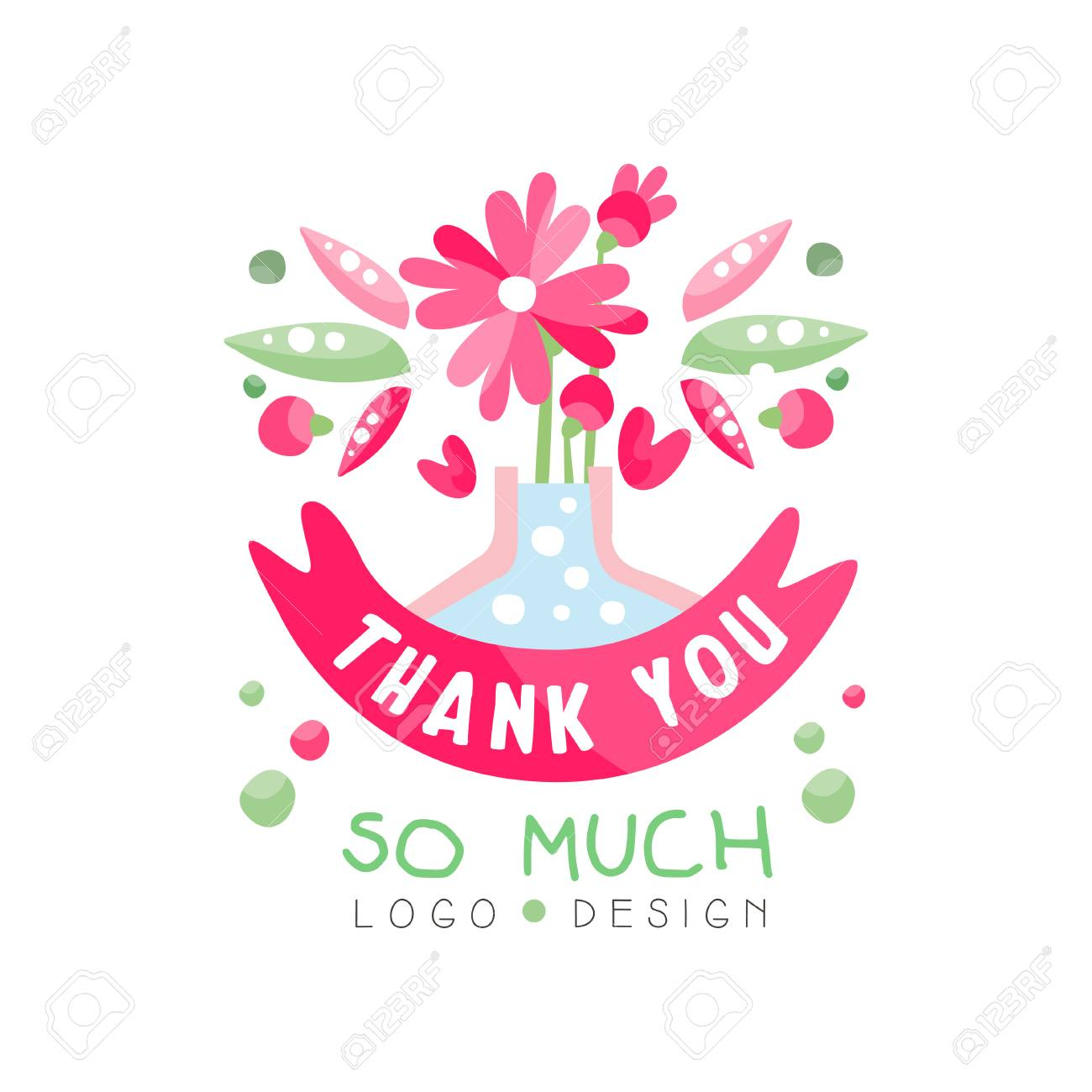 Thank You So Much logo design, holiday card, banner, invitation with lettering, colorful label with floral elements vector Illustration - 115693659