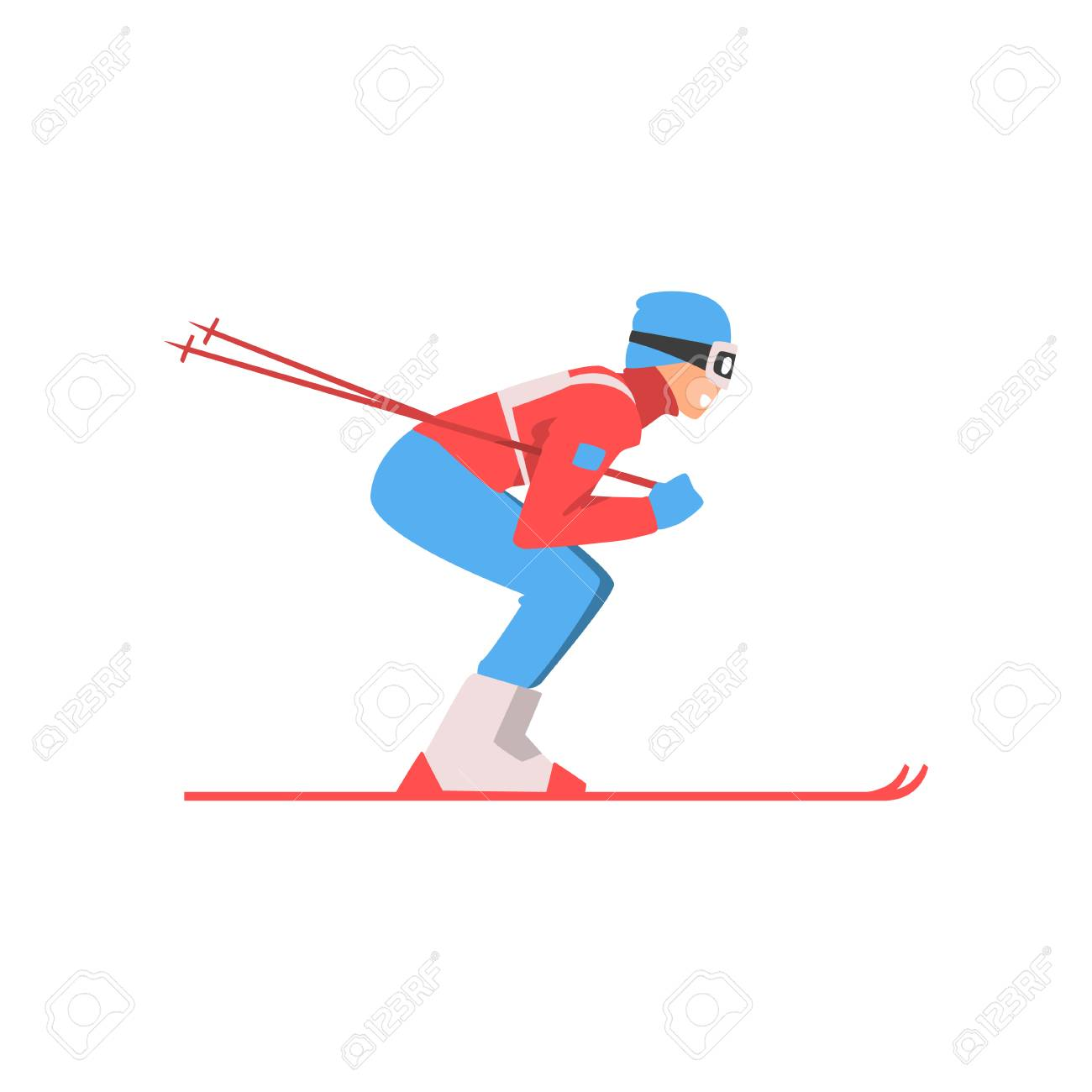 Skiing Sportsman, Male Athlete Character in Sports Uniform and Goggles, Active Sport Healthy Lifestyle Vector Illustration on White Background. - 125835185