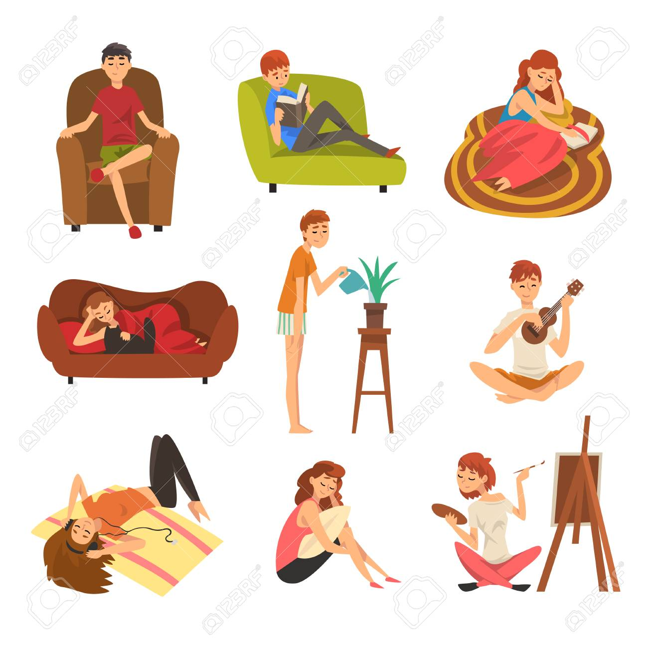 People Spending Weekend at Home and Relaxing Set, Man and Woman Reading Books, Lying, Dreaming, Resting at Home Vector Illustration - 116118909