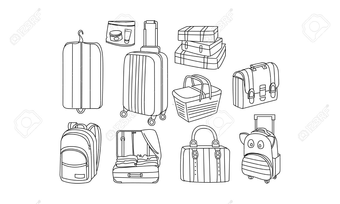 Set of different bags and tourist luggage. Picnic basket, cover for clothes, suitcase, travel backpacks, briefcase. Baggage theme. Hand drawn vector illustrations isolated on white background. - 116242794