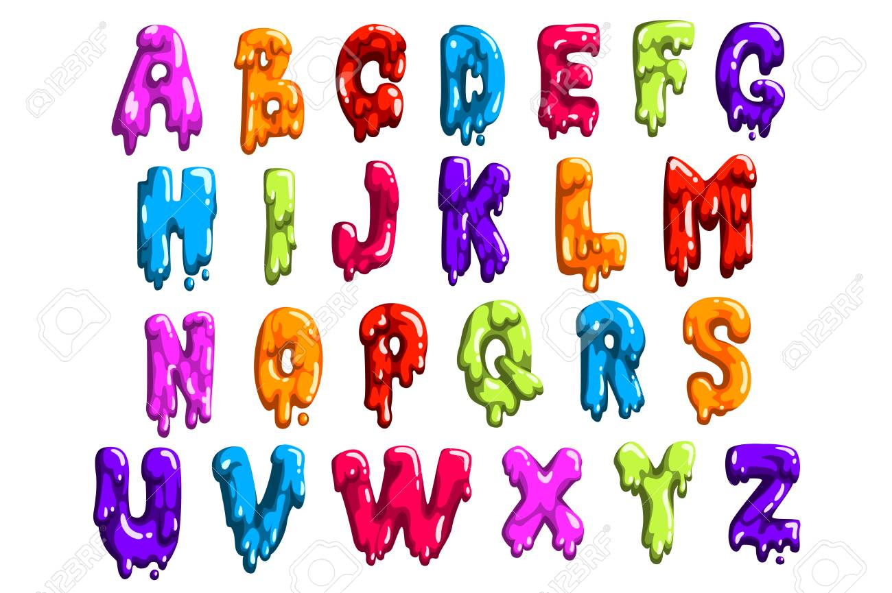 Bright-colored latin alphabet made of sweet jelly or jam. English letters from A to Z. Cartoon vector font for print, poster or card - 116316974