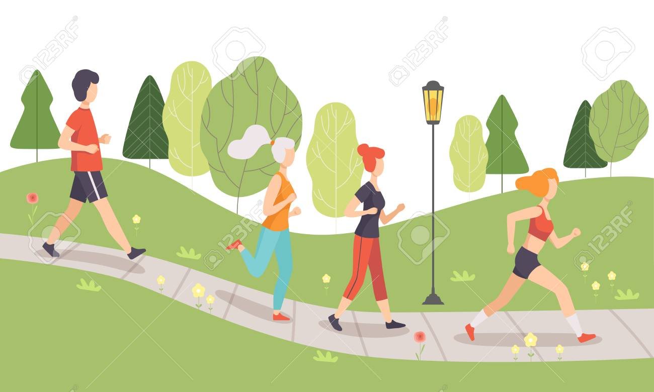 People Running and Jogging in Park, Physical Activities Outdoors, Healthy Lifestyle and Fitness Vector Illustration in Flat Style - 116572432