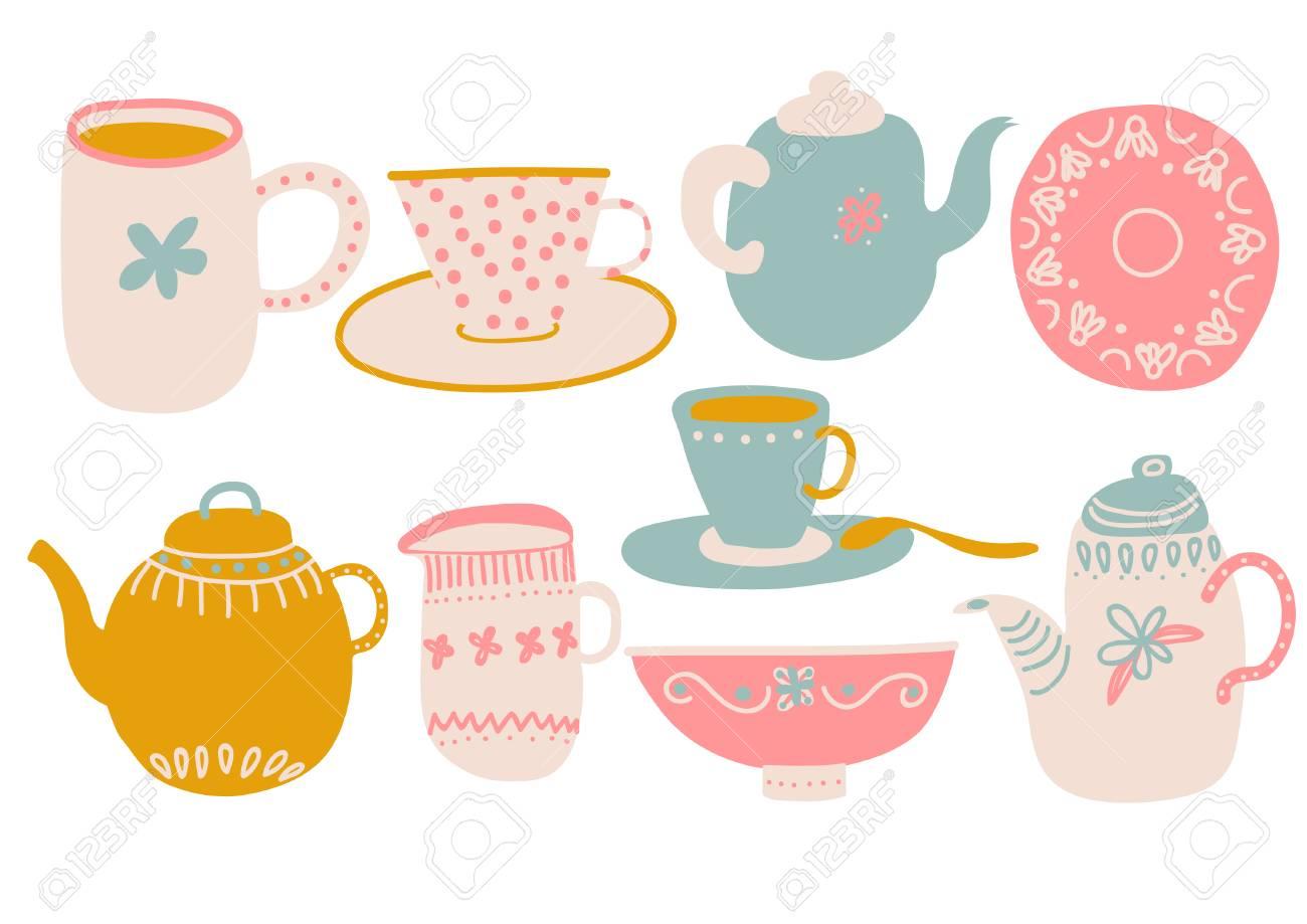 Cute Coffee or Tea Set, Design Elements with Teapot, Teacup, Saucer, Jug Milk and Napkin Vector Illustration - 117813022