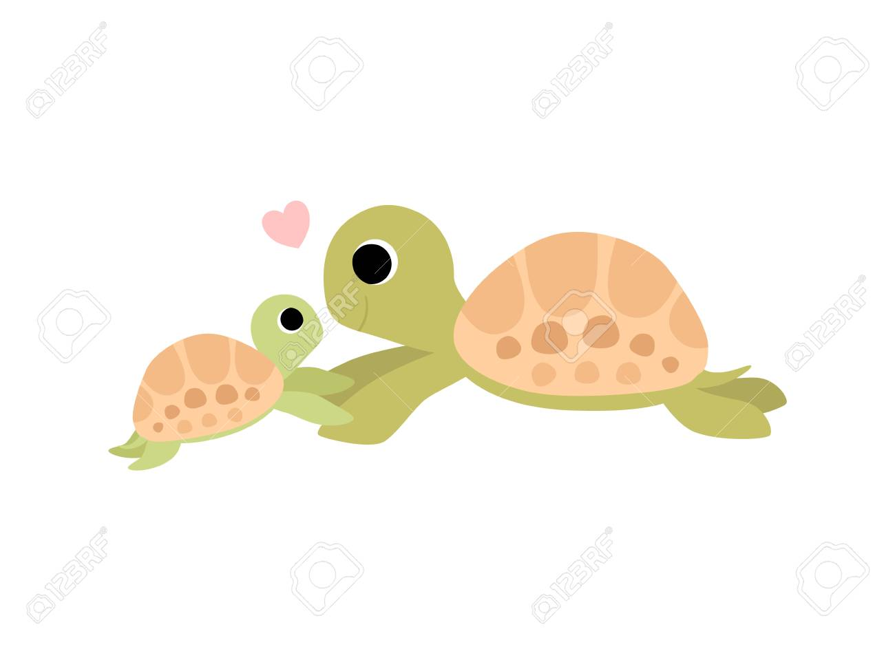 Mother Tortoise And Its Baby Cute Turtles Family Vector