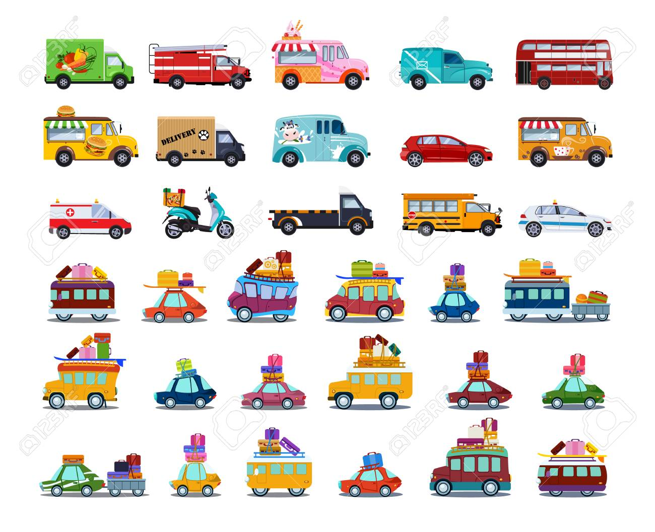 Cute City Transport Set, Colorful Childish Cars and Vehicles Vector Illustration on White Background. - 124687861
