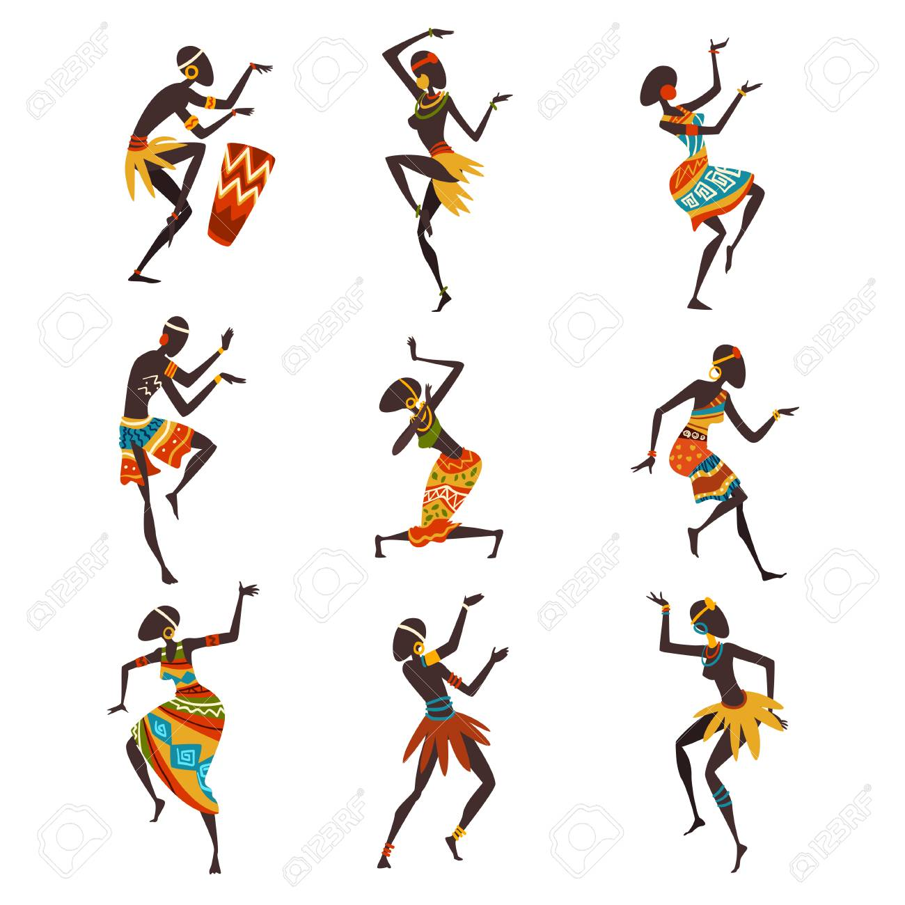 African People Dancing Folk or Ritual Dance Set, Aboriginal Dancers in Bright Traditional Ethnic Clothing Vector Illustration on White Background. - 124611745