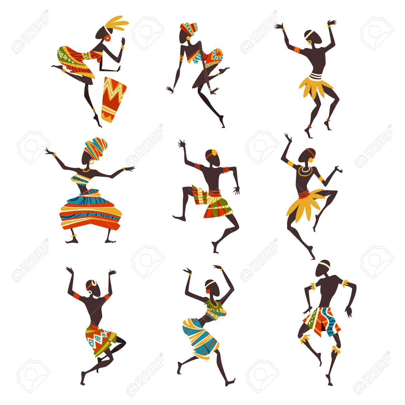 African People Dancing Folk or Ritual Dance Set, Female and Male Aboriginal Dancers in Bright Ornamented Ethnic Clothing Vector Illustration on White Background. - 124611768