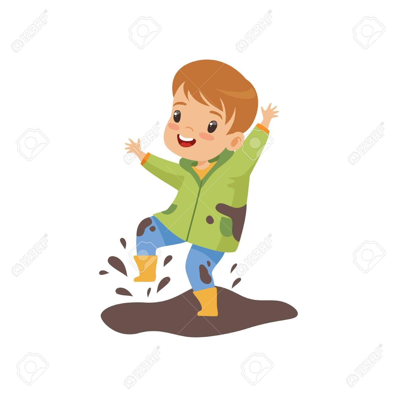 Cute Boy Jumping in Dirt, Naughty Kid, Bad Child Behavior Vector Illustration on White Background. - 124296986