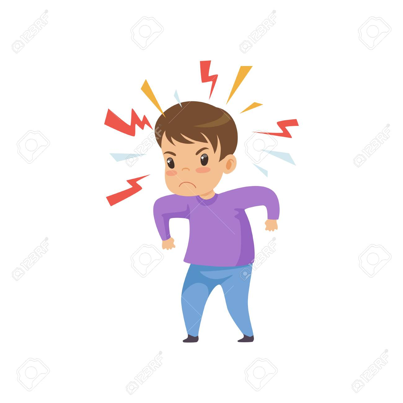 Aggressive Naughty Boy, Bad Child Behavior Vector Illustration on White Background. - 119076266