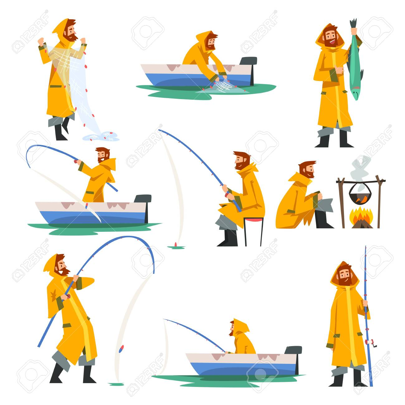 Fisherman Fishing with Net and Fishing Rod in Boat, Man Cooking on Bonfire Vector Illustration on White Background. - 124222293