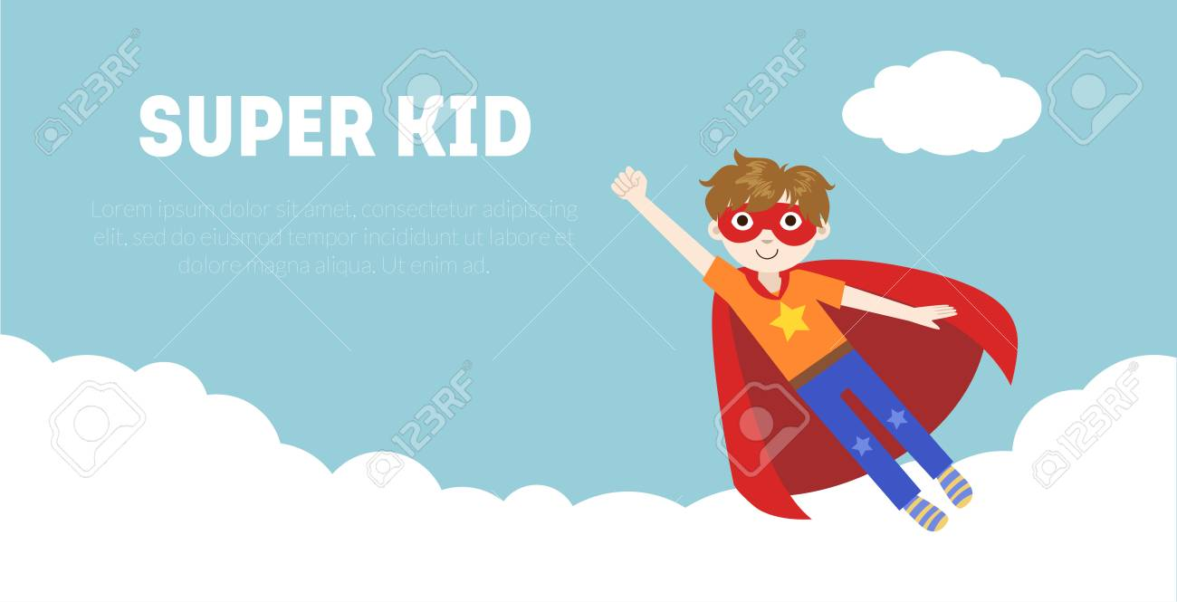 Super Kid Banner Cute Boy In Superhero Costume And Mask Flying Royalty Free Cliparts Vectors And Stock Illustration Image 119607711