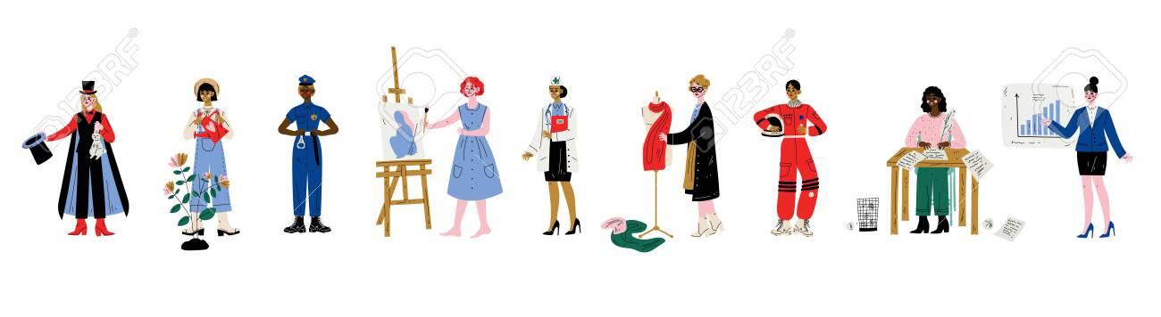 Women of Various Professions Set, Magician, Gardener, Police Officer, Artist, Doctor, Fashion Designer, Writer, Aastronaut, Businesswoman Vector Illustration on White Background - 124143466