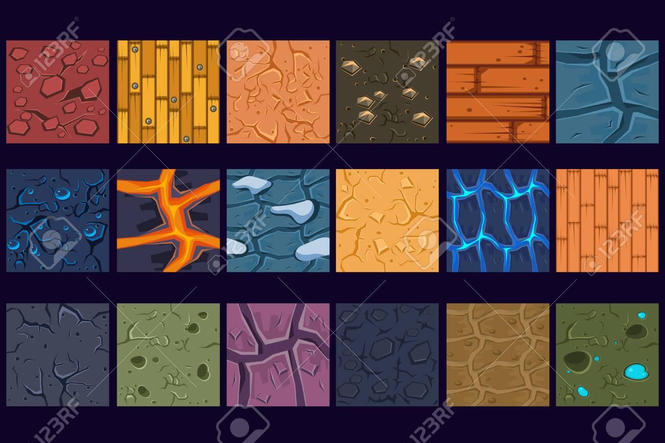 Ground concrete stone texture patterns set vector Illustrations, web design - 124011583