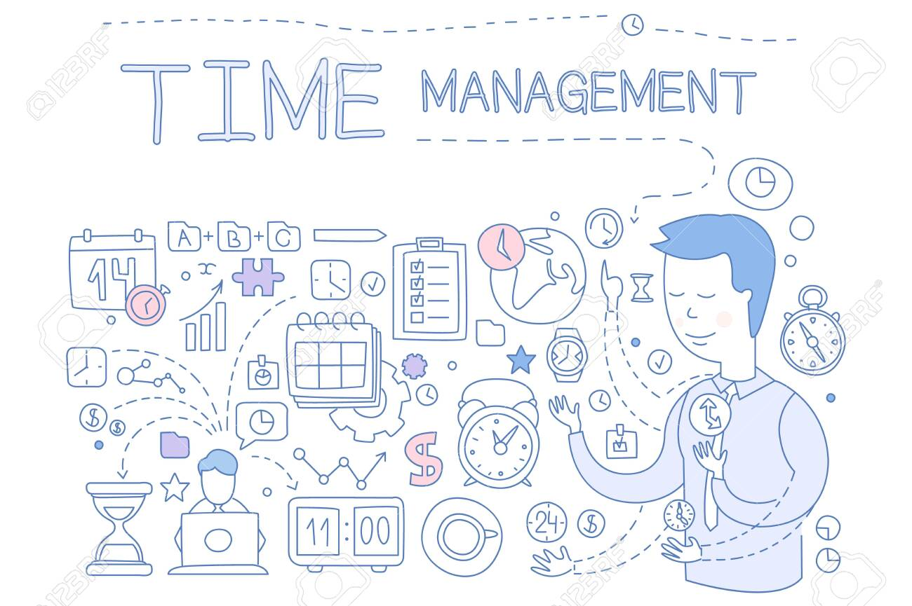 Time management set, hand drawn business planning design elements for banner, poster, brochure, flyer, advertising vector Illustration isolated on a white background. - 124011591