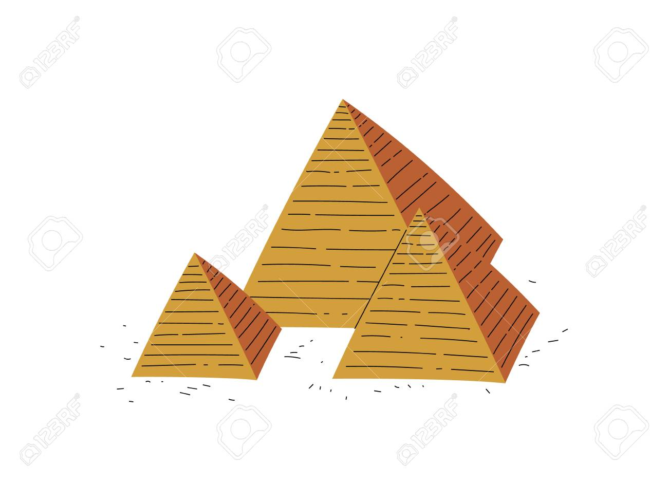 Great Pyramids of Egypt, Traditional Egyptian Culture Symbol Vector Illustration - 120442377