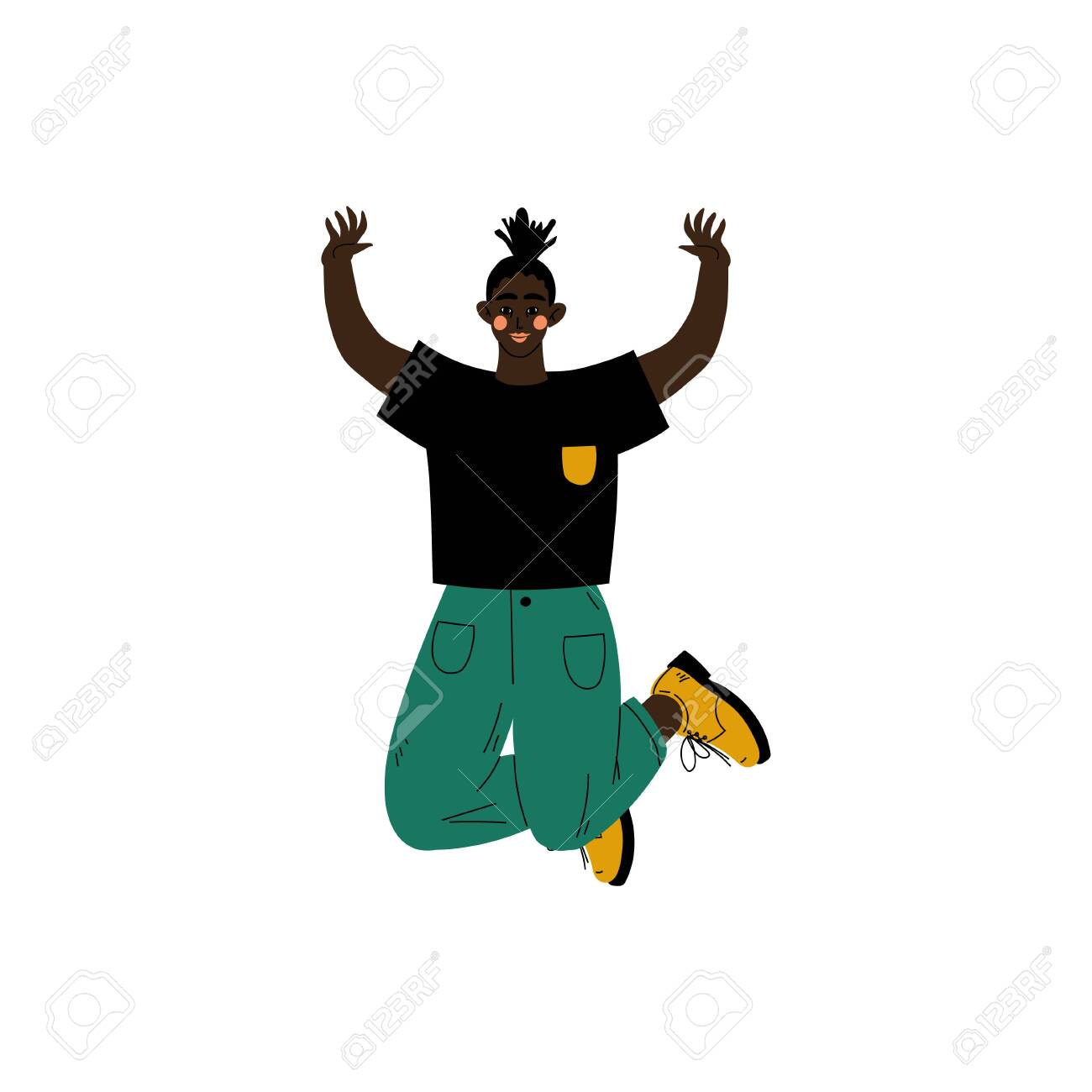 Happy African American Girl Jumping Celebrating Important Event,