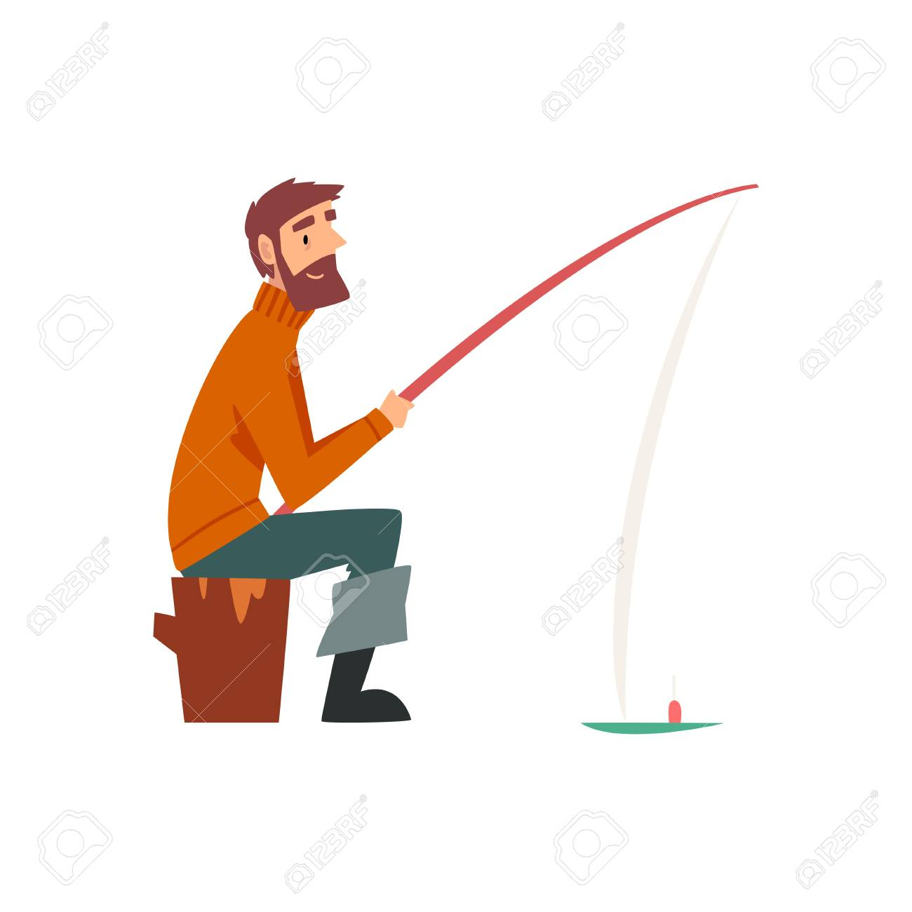 Bearded Fisherman Character Sitting on Shore with Fishing Rod Vector Illustration on White Background. - 123929338