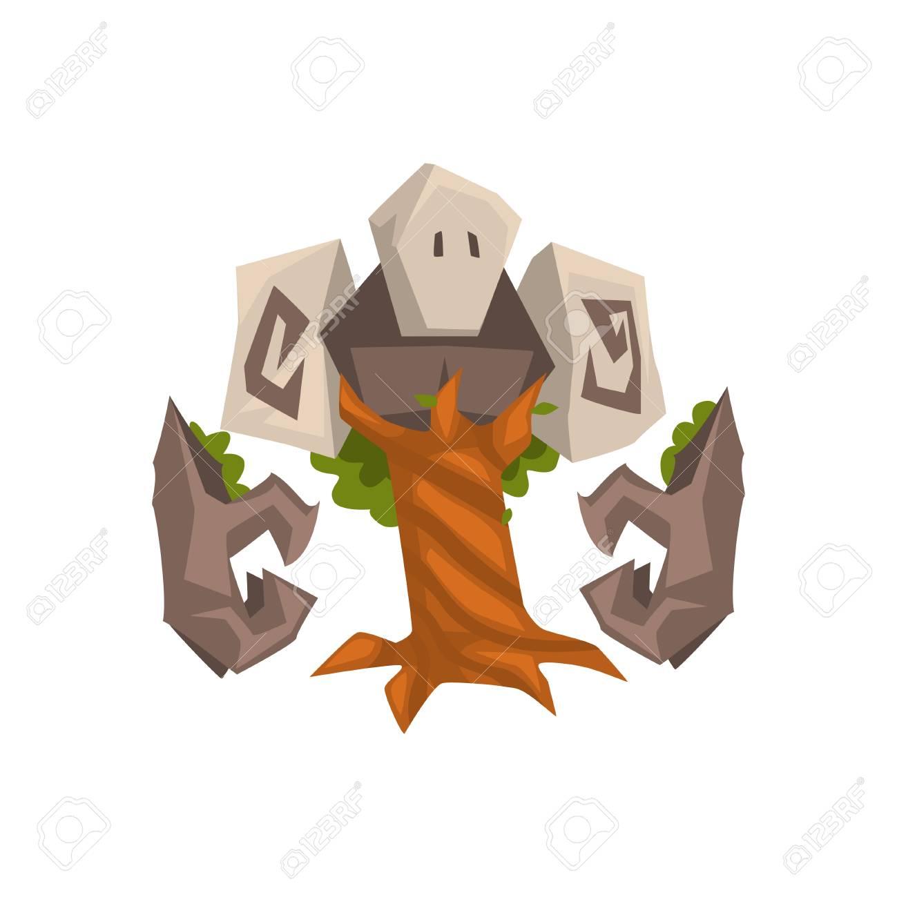 Stone Tree Golem, Fantasy Mystic Monster Creature Cartoon Character Vector Illustration - 120701418