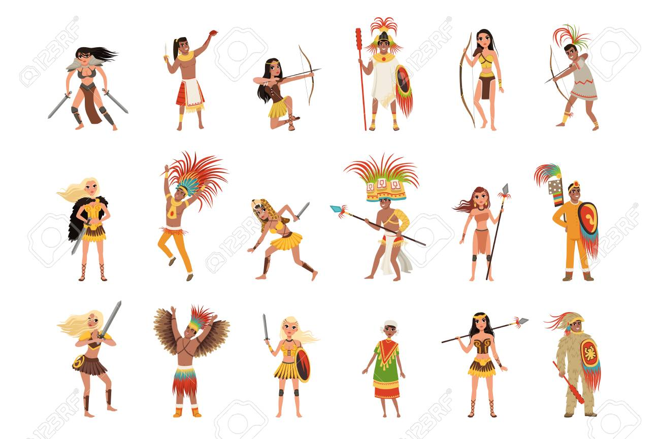 Aztec Warriors Set Men In Traditional Clothes And Headgear With Royalty Free Cliparts Vectors And Stock Illustration Image 123469085