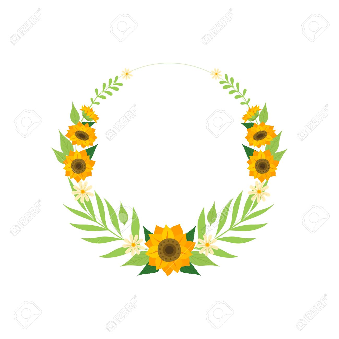 Floral Wreath With Sunflowers Circle Frame With Flowers And Royalty Free Cliparts Vectors And Stock Illustration Image 121061670