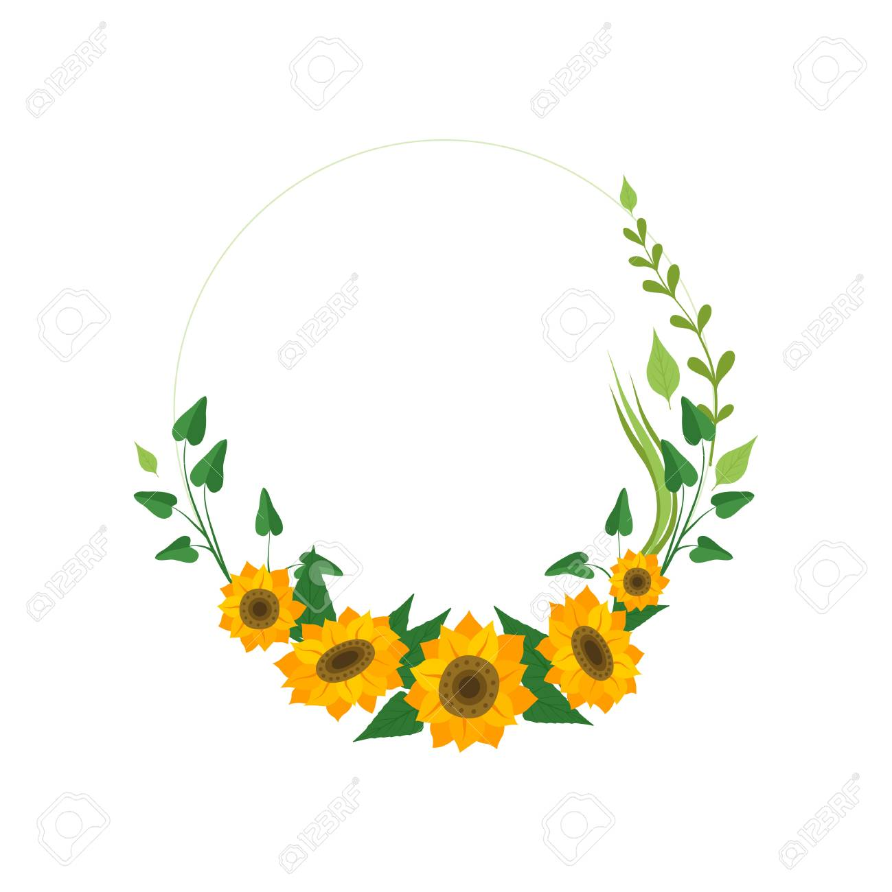 Floral Wreath With Sunflowers And Leaves Design Element For Royalty Free Cliparts Vectors And Stock Illustration Image 121062560