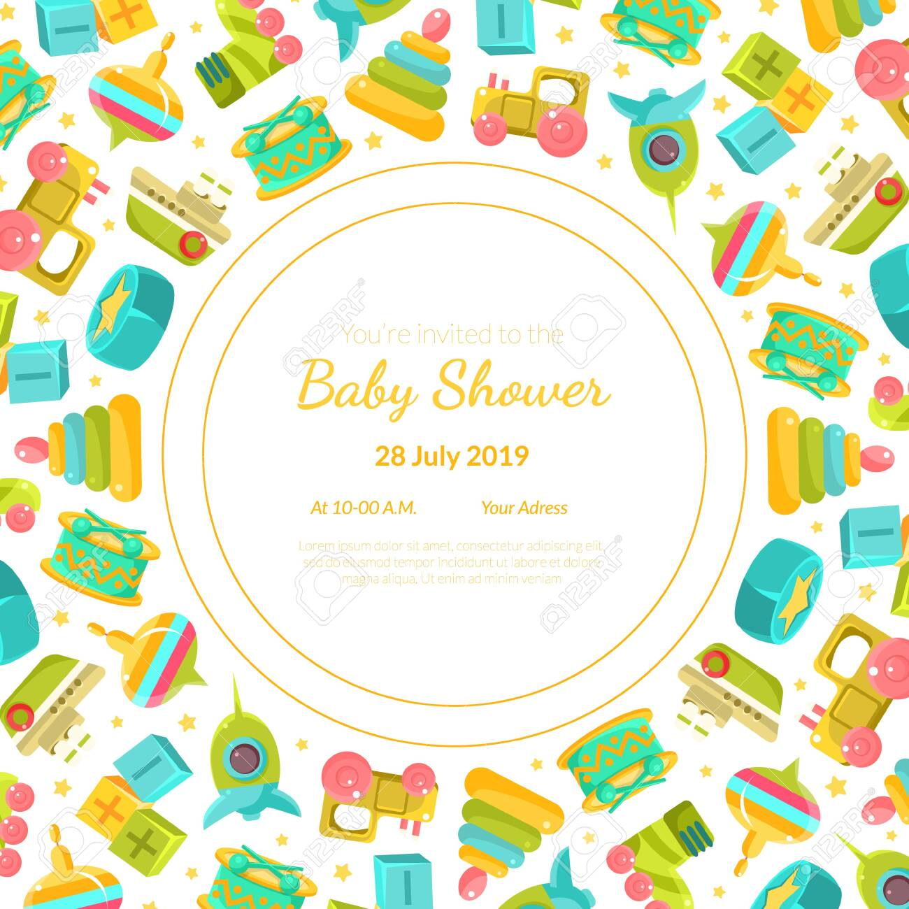 Baby Shower Invitation Template Card With Baby Toys And Place
