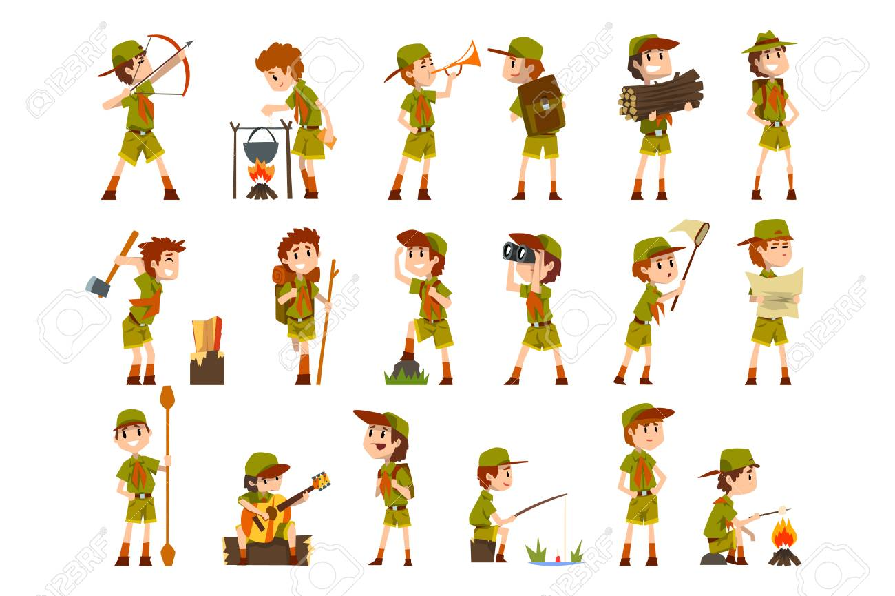 Scouting boys set, boy scouts with hiking equipment, summer camp activities vector Illustrations isolated on a white background. - 123221557