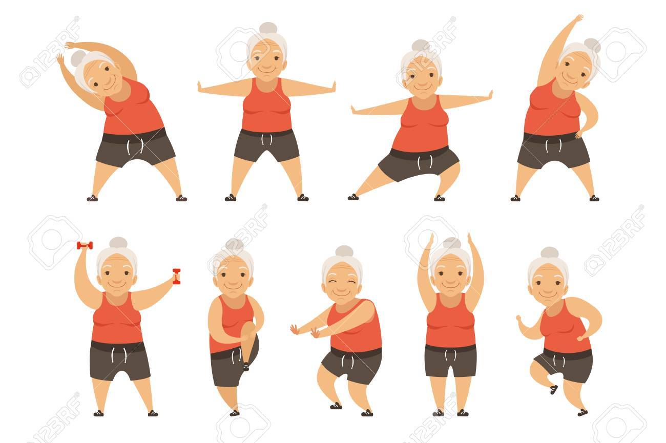 Senior woman doing morning exercises, active and healthy lifestyle of retired people vector Illustration isolated on a white background. - 123221565