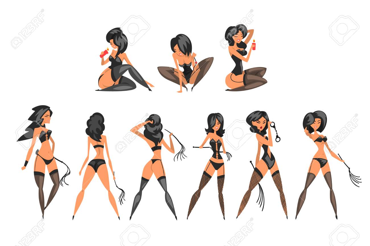 Pretty BDSM mistress set, beautiful woman in latex dress vector Illustrations on a white background - 121596546