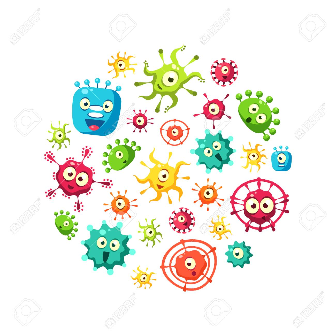 Bacteria Banner Template with Cute Colorful Microorganisms Pattern in Circular Shape, Probiotics, Medicine or Dietary Supplements for Gastrointestinal Health Vector Illustration - 122450168