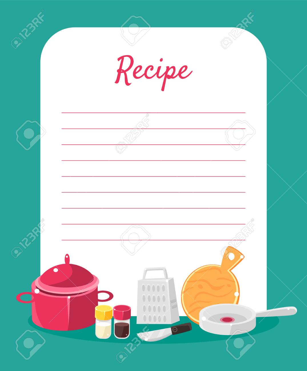 Recipe Cookbook Decorated with Kitchen Tools, Card with Lines for Recipe Placement Colorful Vector Illustration. - 128163493