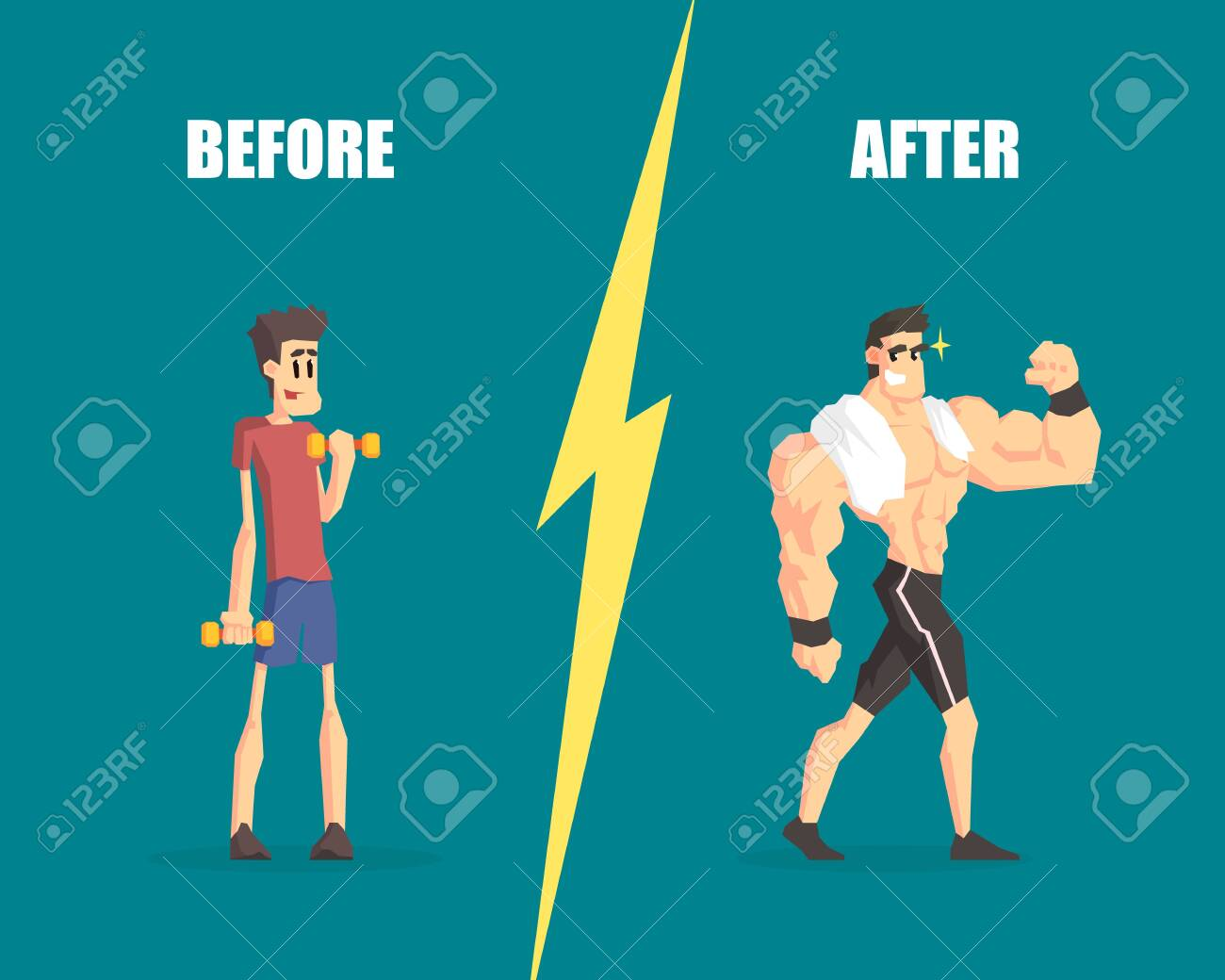Weak and Muscular Men, Man Before and After Training, Demonstration of Progress in Training - 122450134