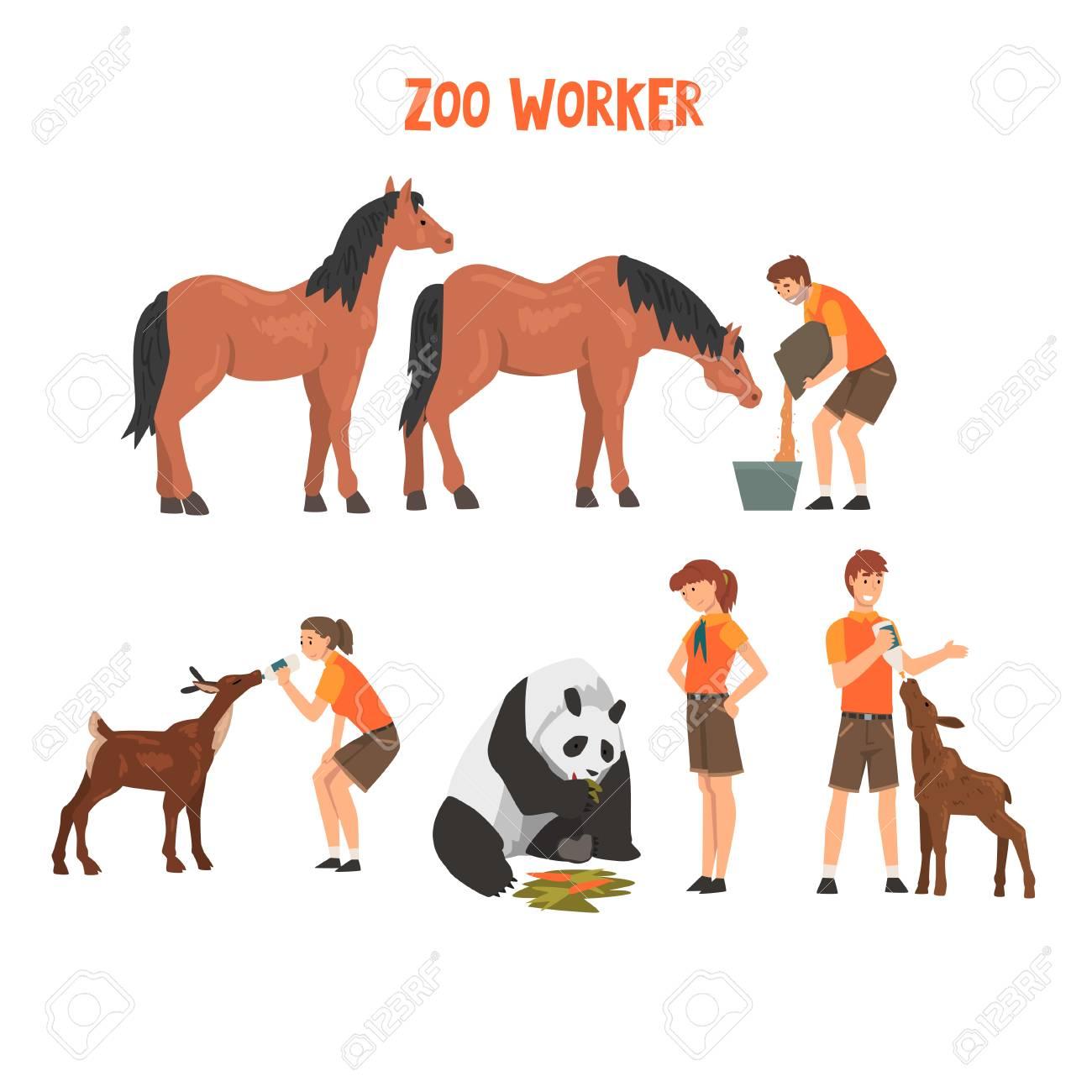 Little children taking care domestic animals Vector Image