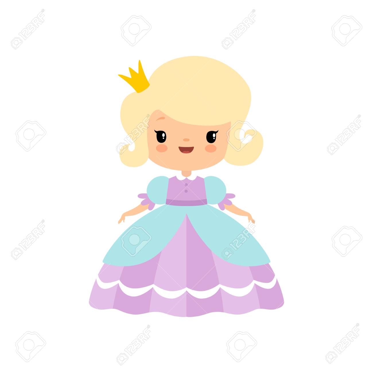 Cute Blonde Little Fairytale Princess in Beautiful Dress Cartoon..