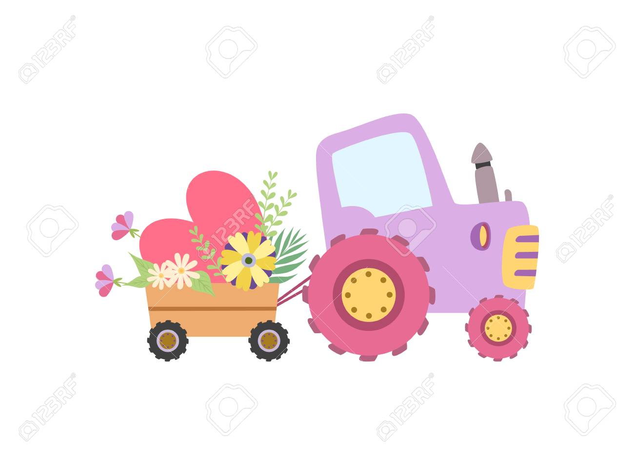 Cute Colorful Tractor with Cart Full of Flowers Vector Illustration on White Background. - 123096110